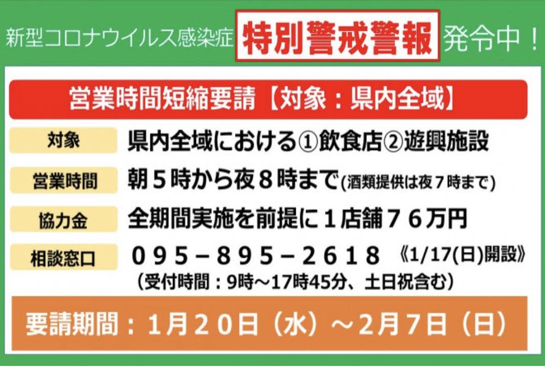 長崎県特別警戒警報に伴う時短要請協力金(速報)